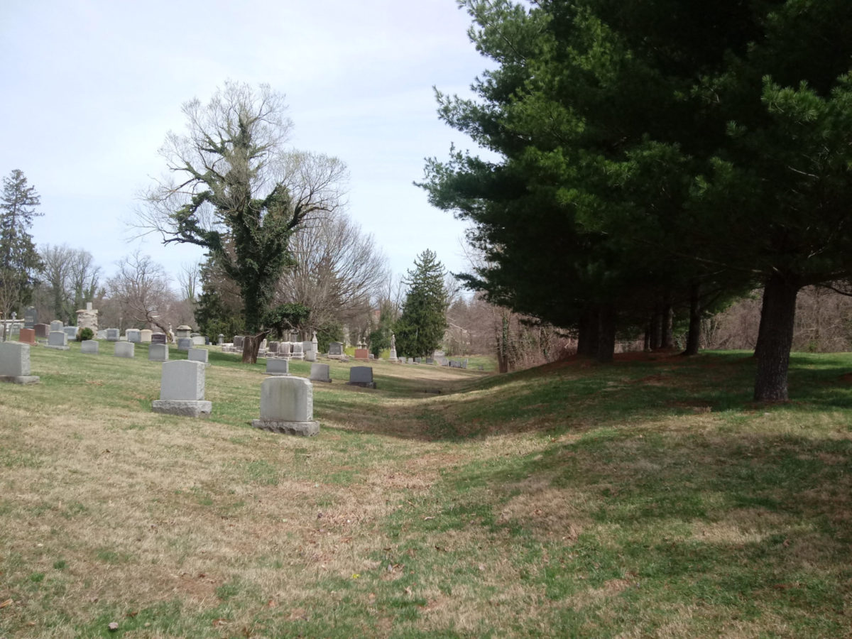 The old trolley path through the cemetery