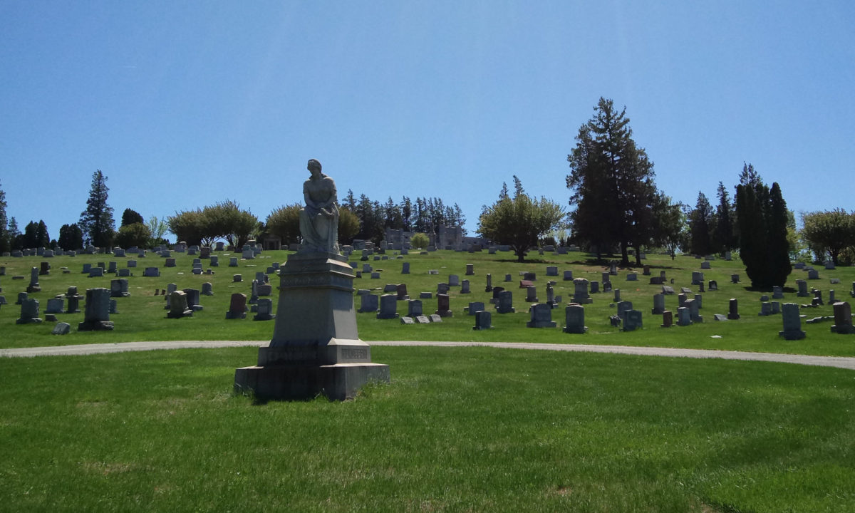 At the base of the hill in Mount Rose Cemetery