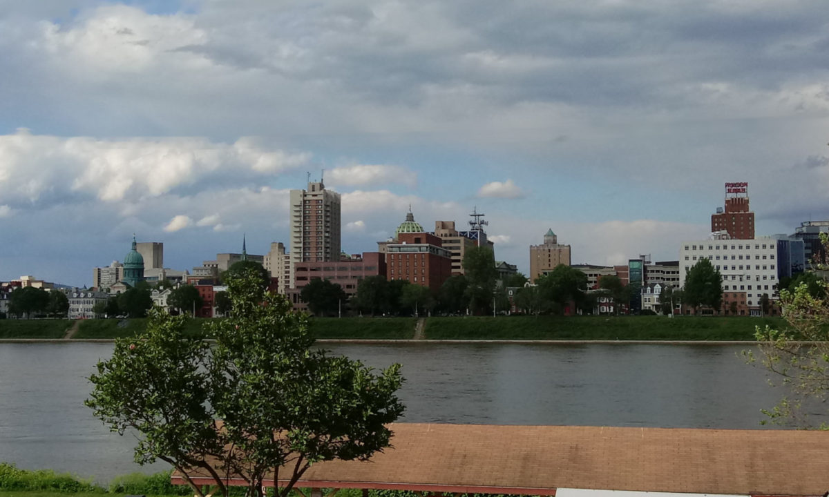 Downtown Harrisburg, as seen from the concourse of FNB Field