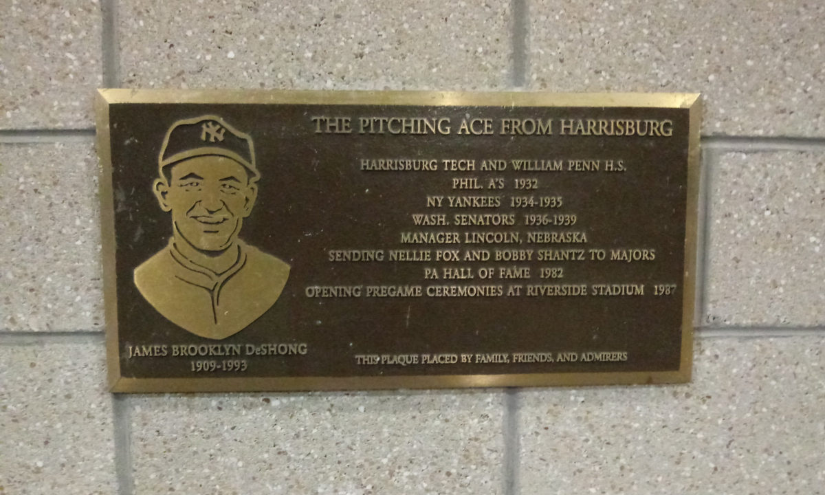 Plaque for Jimmie DeSong, a major league pitcher of the 1930s from Harrisburg
