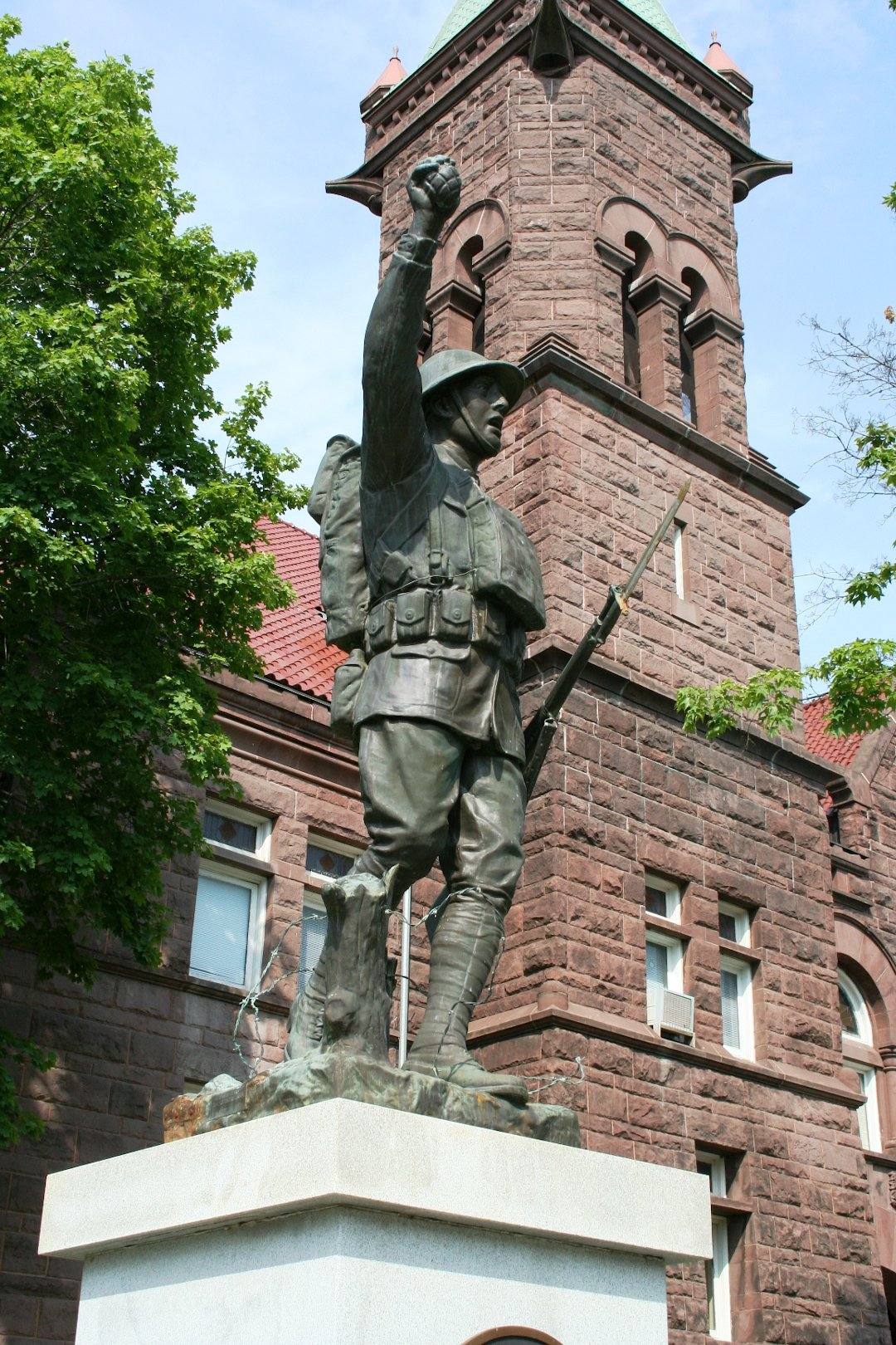 Spirit of the American Doughboy war memorial outside the Barbour County Courthouse in Philippi, WV