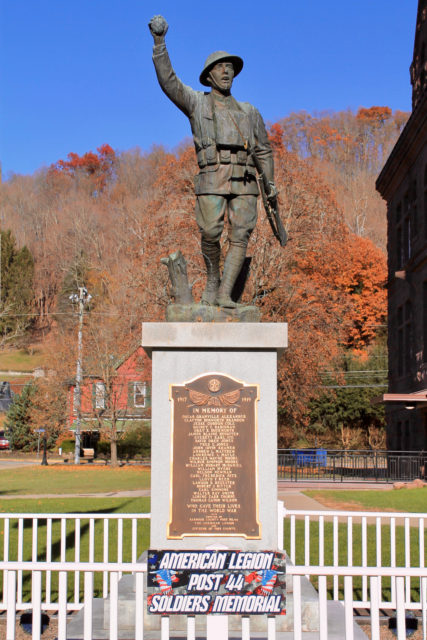 On the 100th-anniversary of the end of World War I (November 11, 2018), the war memorial stands on the lawn of the Barbour County Courthouse in Philippi, WV