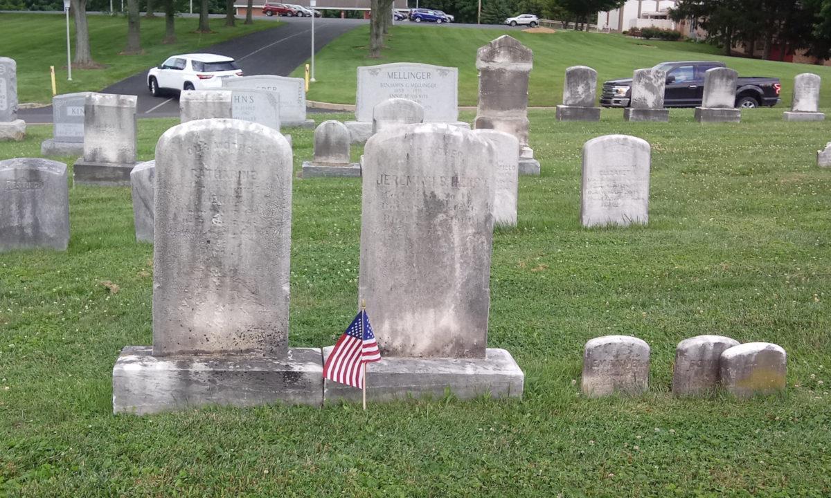 Headstones for Catherine (left) and Jeremiah Henry, Millersville Mennonite Cemetery