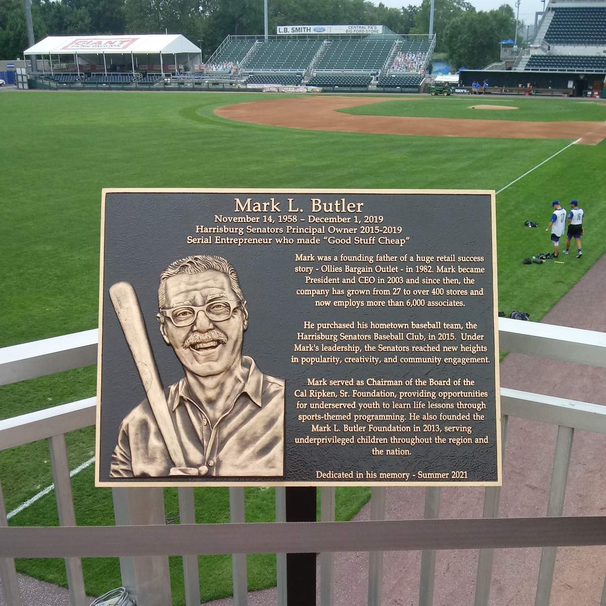 Plaque dedicated to Mark Butler, Senators owner and Ollie's founder, who died after the 2019 season
