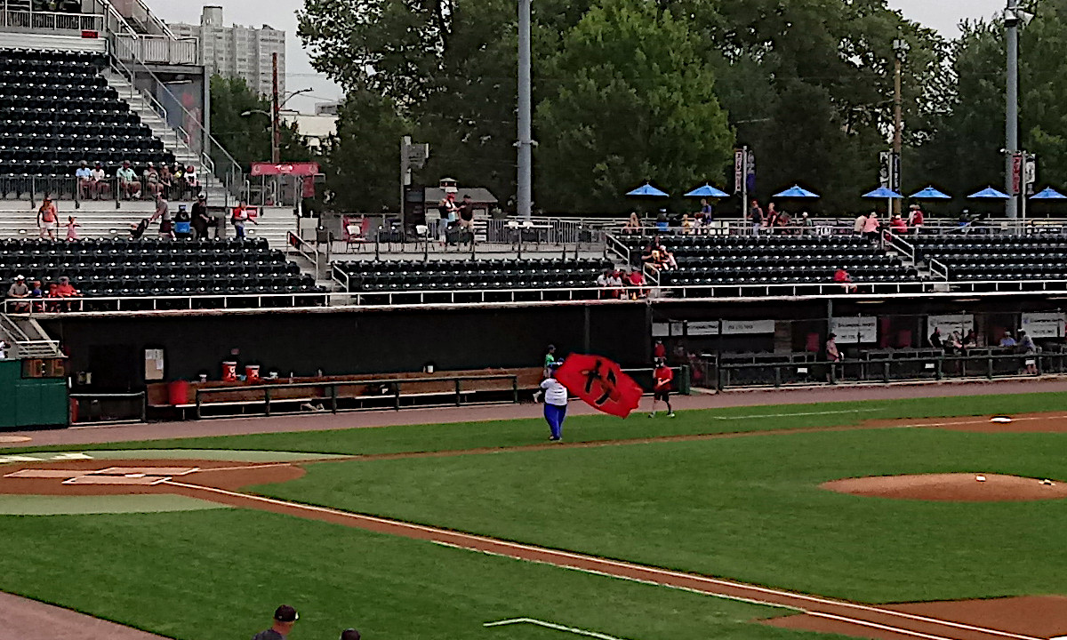 Senators mascot Rascal fires up the crowd with a flag pre-game