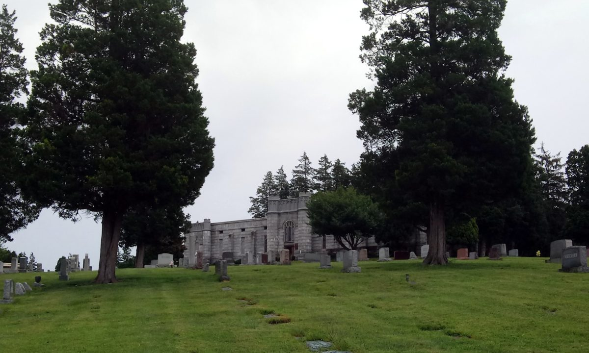 The Mausoleum dominates the hill at Mt. Rose Cemetery