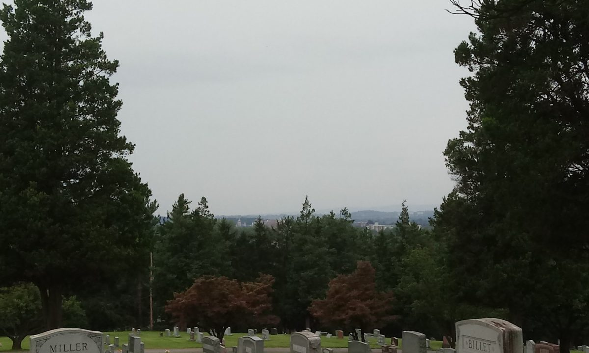 Downtown York as seen from in front of the mausoleum at Mt. Rose Cemetery
