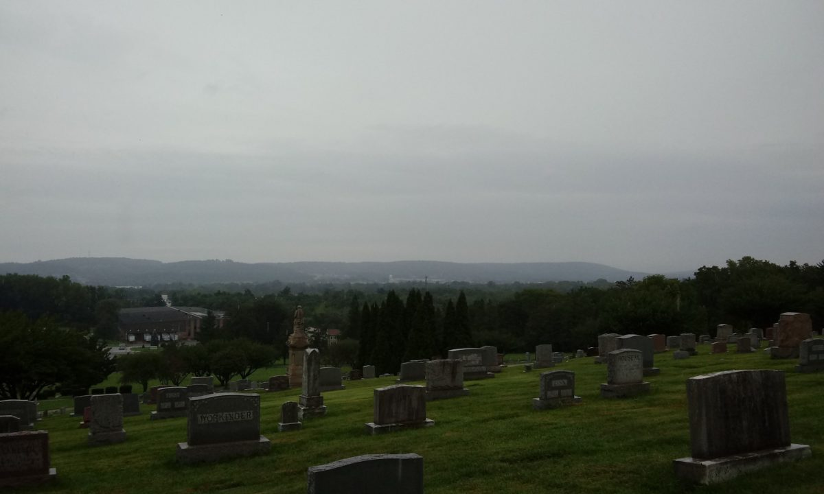 Looking toward York Gallery from the  hill at York's Mt. Rose Cemetery on an overcast and rainy Sunday