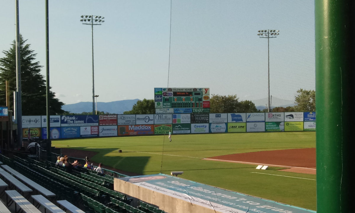 Mountains to the northwest of Lynchburg beyond the outfield wall at Lynchburg's City Stadium