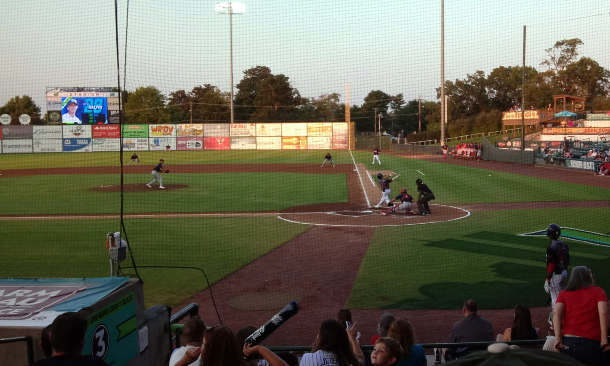 Bottom of the first inning, Lynchburg's Petey Halpin at the plate