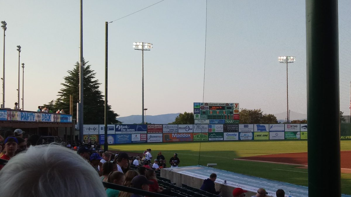 Looking toward the mountains beyond the outfield wall of City Stadium in Lynchburg