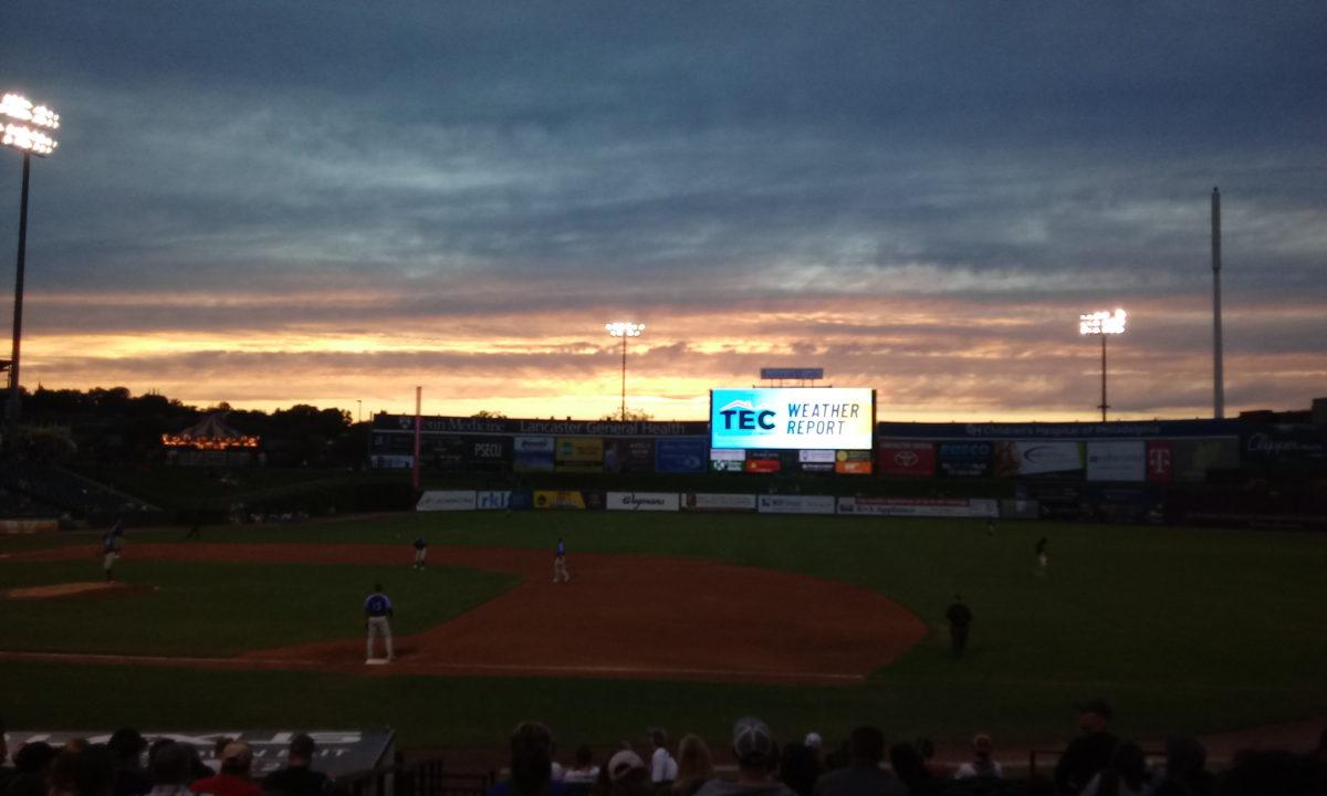 Sunset over Clipper Magazine Stadium