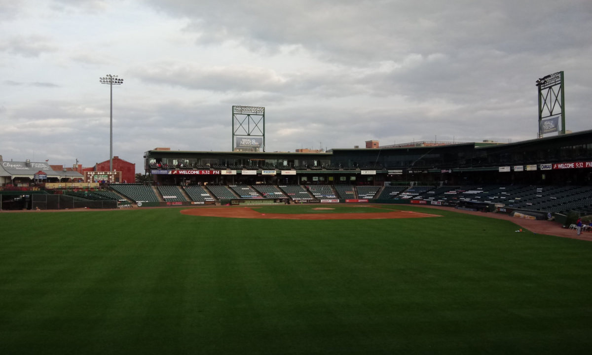 Clipper Magazine Stadium, as seem from the center field gate