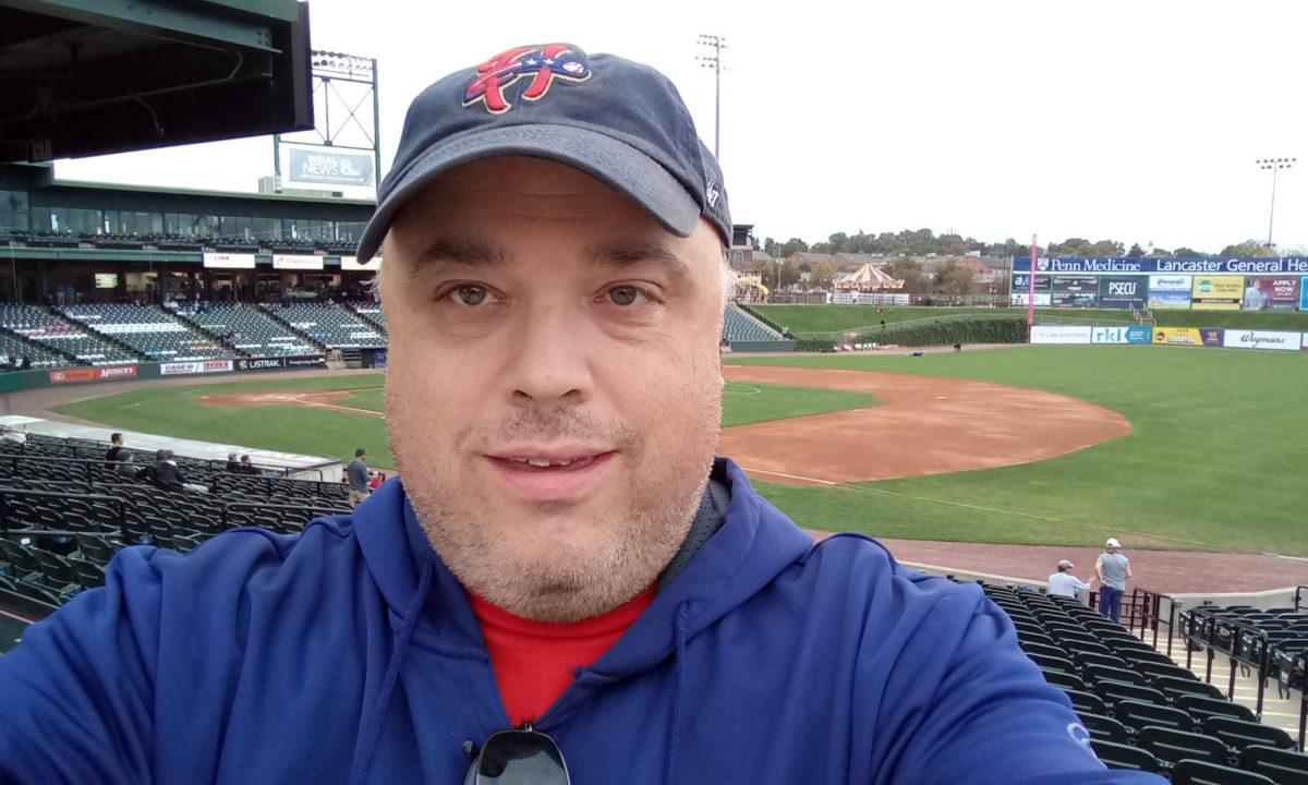 One final baseball selfie for 2021. Note the Harrisburg Senators cap.